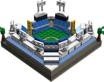 Mini LA Dodgers Stadium Custom Brick Set with Printed Instructions