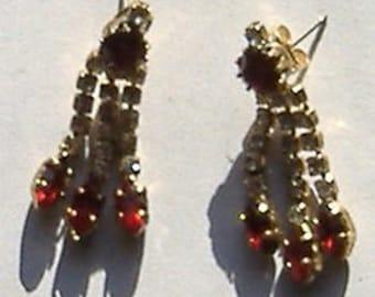1950S RED  DROP DIAMANTE earrings for pierced ears