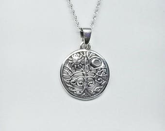Tree of Life Necklace~Silver Tree Pendant~Whimsical Sun and Moon Necklace~Family Tree Jewelry~Celestial Tree of Life Necklace~Gift for Her