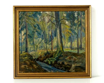 German Expressionist Woodland Painting - Vintage 1950's Original Oil Painting - Signed & Framed - Mid Century - Landscape Painting