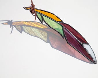 Stained glass feather, glass suncatcher, purple feather suncatcher, amber glass feather suncatcher, stained glass art, autumn colors