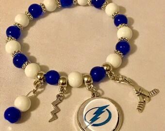 Handmade Tampa Bay Lightning Bolts Stretch Bracelet