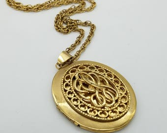 Vintage Gold Tone Double Locket Pendant Necklace