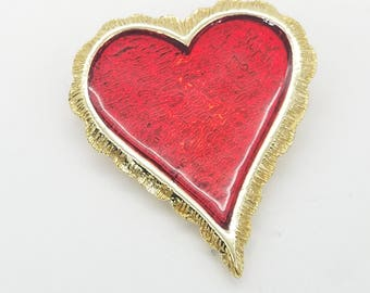 Vintage Red Enamel & Ruffled Gold-Tone Heart Brooch - Old Stock, New Condition