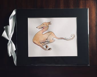 Carpe Diem Tesla, Original Greyhound Ink & Watercolor Illustration