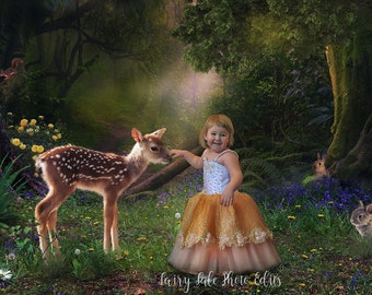 The Little Fawn Digital Backdrop, Bambi Backdrop, Photography backdrop,