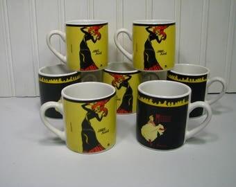 Demi Mini Cups Flautrec Moulin Rouge Jane Avril Art Deco 7 Cups