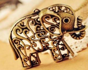 "Antique Bronze Hollow Out Carved flower Elephant Pendant Necklace 25"" Long  Filigree Large Elephant"