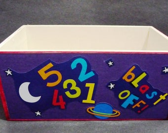 The Aliens are coming to play - handy toy storage- Hand Decorated wooden box Lg