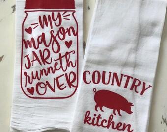 Country Kitchen Flour Sacks/Tea Towels Set of Two