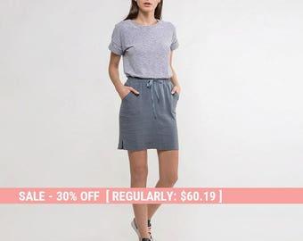 Linen skirt,short linen skirt,grey linen skirt,summer linen skirt,grey skirt,side slit skirt,casual skirt,mini skirt,grey mini skirt,Casual