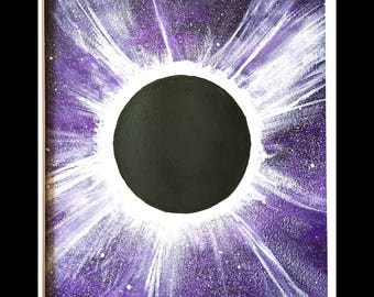Total Solar Eclipse Original Painting Watercolor Purple Black White Matted Ready to Frame 8x10 Art 11x14 Mat