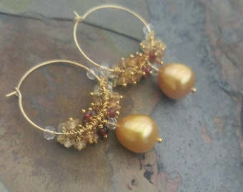 Gold South Sea Pearl and Sapphire Earrings, Cluster Earrings, Hoop Earrings, Chandelier Earrings