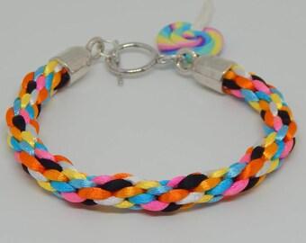 Braided girl woman teen Rainbow multicolor kumihimo bracelet
