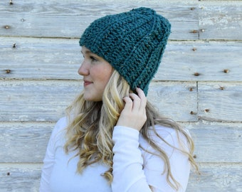 Crochet Hat, Chunky Hat + The Continental Beanie + TEAL