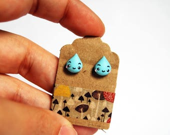Raindrop earrings polymer clay-Kawaii Collection Autumn