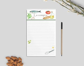 Shopping List, Notepad, meals book, nice stationery, stationery, notepad, gift idea, Christmas present, Secret Friend