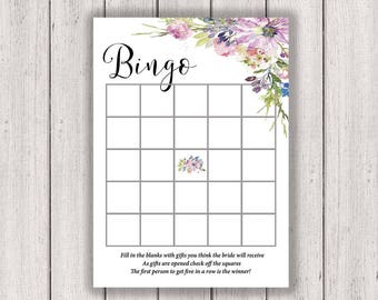 BRIDAL SHOWER GAME Bridal Bingo Printable Bridal Shower Game Boho Chic Bridal Asters Violets Wedding Purple diy, B300