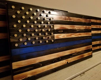 Thin Blue Line Rustic American Flag
