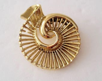 GERRY'S Gold Tone Nautilus Brooch