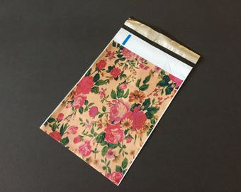 100 Designer 6x9 VINTAGE ROSES Poly Mailers 10x13 Envelopes Shipping Bags