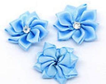 5 30mm blue rhinestone satin flowers
