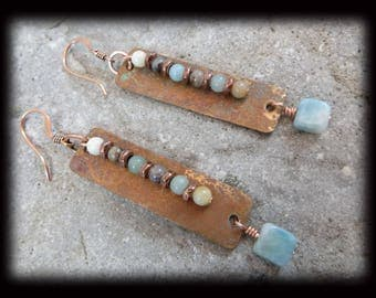 Copper Dangle Earrings Distressed Green Patina with Amazonite beads