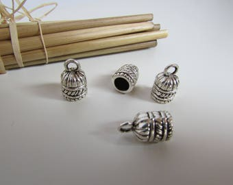 6 tribal caps for cord 5mm, silver - 138.21