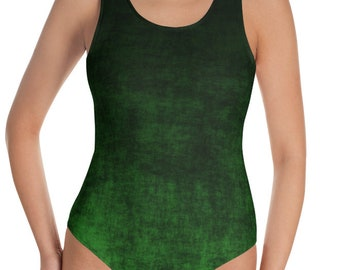 Green Ombre Swimsuit, One Piece Black and Green Printed Bathing Suit, Swimming Suit, Grunge Bodysuit for Women