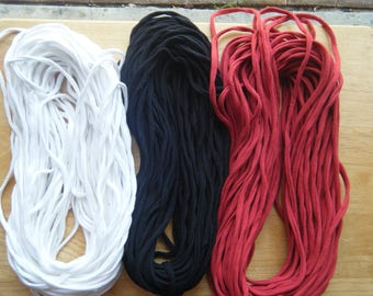 T Shirt Yarn, Continuous Strand, 30 to 39 yards, Bulky, 5 WPI, Handmade, 100% cotton, 50/50 cotton/poly up-cycled T shirts,