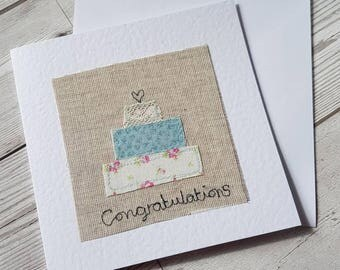 Original textile card, greeting card, wedding card, wedding day card, textile artwork, handmade card, blank card, unique