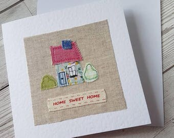 original textile card, greeting card, new home card, embroidered card, textile artwork, handmade, blank card, unique