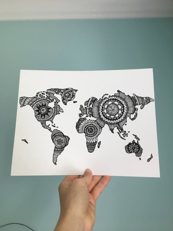 Decorative world map decorative wall map world map drawing like this item gumiabroncs Images