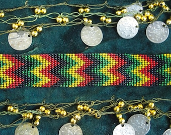 Rastafari tribal beaded bracelet