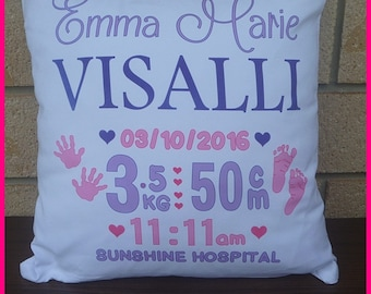 INTRODUCTORY PRICE Personalised Cushion Covers- Birth Stats