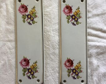Vintage Ceramic Floral Door Plates, Cottage or French Country Decor, Gold Gilt