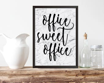 """PRINTABLE ART, 8x10,""""Office Sweet Office""""Instant Download, Office Decor,Home Office Wall Art, Marble Print,  Black & White Typography"""