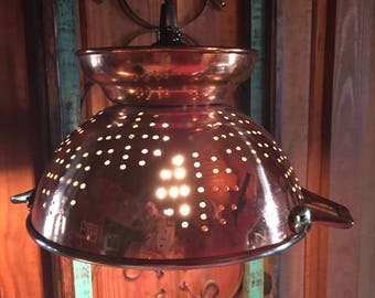 Copper Colander Pendant Light