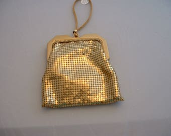 Whiting and Davis Gold Mesh Clutch Purse, Wristlet