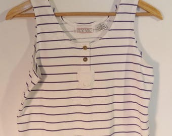 80s striped tank top// Purple and white vintage Lindsey Blake// Women's size S M small medium