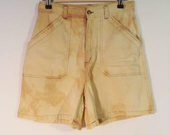 80s-90s Express high rise waist tie dye grunge carpenter cotton shorts// Vintage Compaigne Internationale // Women medium M 8 USA 28 W