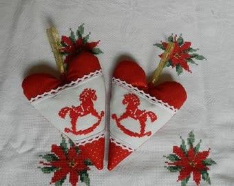Textil heart set, Cross stitch ornaments, Christmas heart decor, Finished cross stitch ornaments
