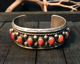 Vintage Navajo Sterling Silver & Red Coral Cuff Bracelet    #031