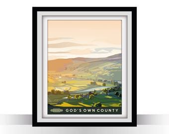 Yorkshire Vintage Travel Poster - 'God's Own County'