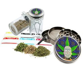 "Rick - 2.5"" Zinc Alloy Grinder & 75ml Locking Top Glass Jar Combo Gift Set Item # G011618-1"