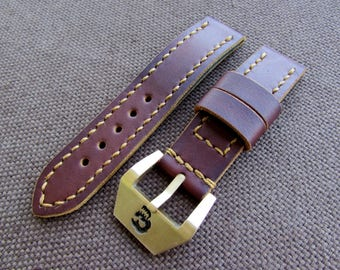 Brown leather handmade watch strap with solid brass/bronze buckle