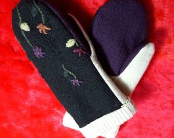 Handcrafted Mittens Embroidered and Made From Upcycled Sweaters