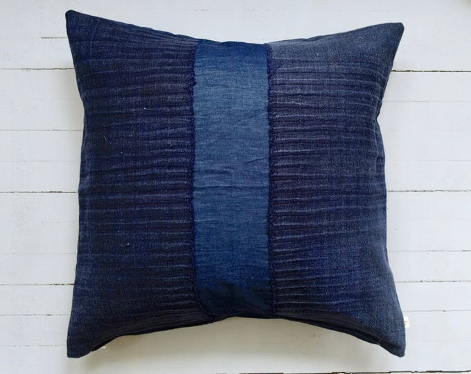 "Vintage Japanese indigo fabric pillow 20"" x 20"""