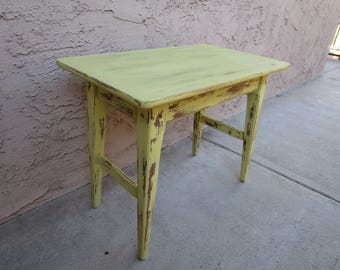 Shabby Chic Chalk Painted Yellow Side End Occasional Childu0027s Desk Table  Distressed Rustic Mid Century Leath