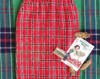 Evan Picone Plaid Wool Pencil Skirt
